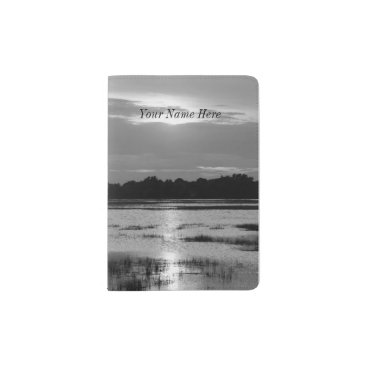 Evening At Folly River Grayscale Passport Holder