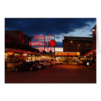evening at pike place market greeting card