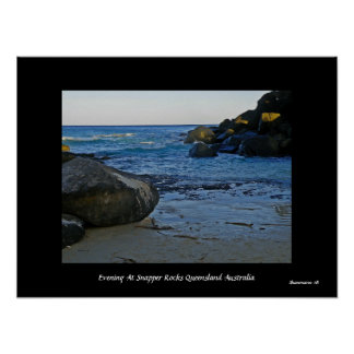 Evening At Snapper Rocks Queensland  Australia Poster