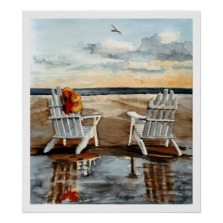 Evening at the Beach Poster