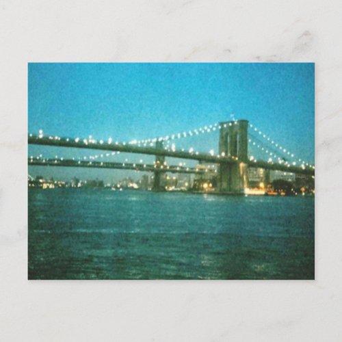 Evening at the Brooklyn Bridge postcard