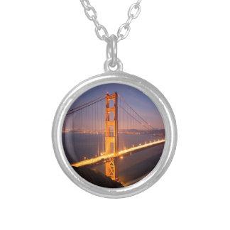 Evening at the Golden Gate Bridge Round Pendant Necklace