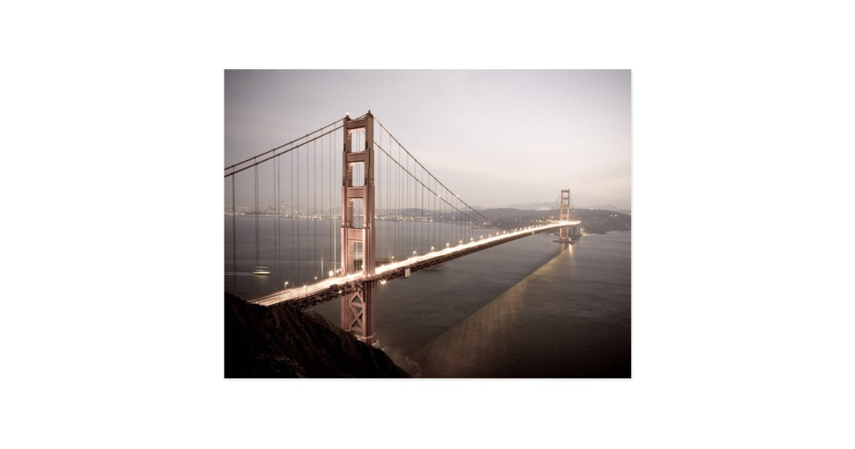Evening At The Golden Gate Bridge Postcard Zazzle