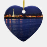 Evening at the Santa Cruz Boardwalk Double-Sided Heart Ceramic Christmas Ornament