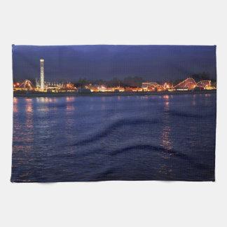 Evening at the Santa Cruz Boardwalk Towels