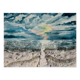 Evening beach sunset art print