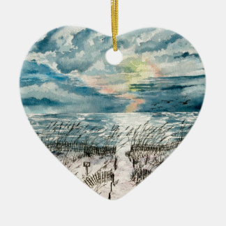 Evening beach sunset ceramic ornament