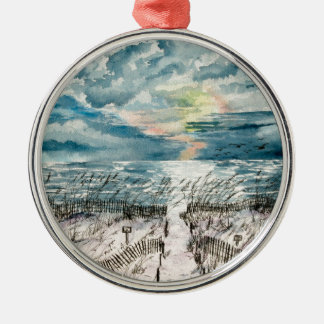 Evening beach sunset metal ornament