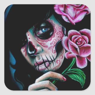 Evening Bloom Day of the Dead Sugar Skull Girl Square Sticker