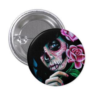 Evening Bloom Sugar Skull Girl Button