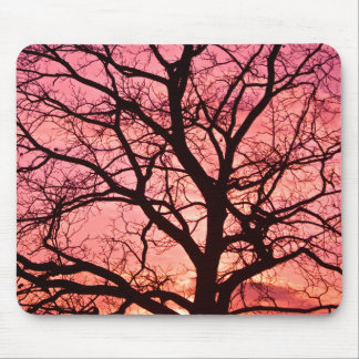 Evening Blush Tree Silhouette Mouse Pad