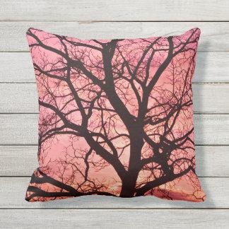 Evening Blush Tree Silhouette Throw Pillow
