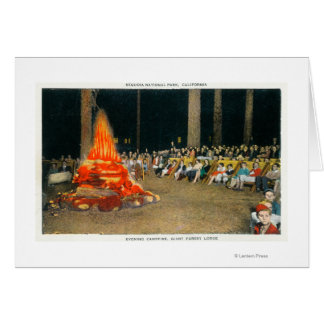 Evening Bonfire at Giant Forest Lodge Greeting Card