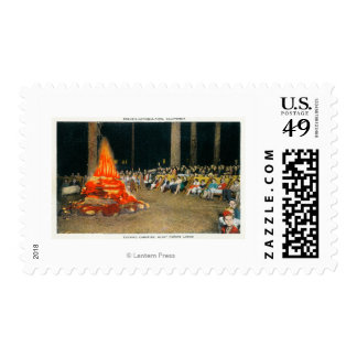 Evening Bonfire at Giant Forest Lodge Stamp