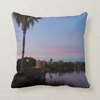Evening By The Palm Tree Throw Pillow