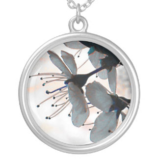 Evening Cherry Blossom Silver Plated Necklace