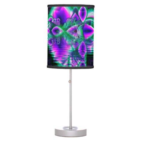 Evening Crystal Primrose, Abstract Night Flowers Desk Lamp