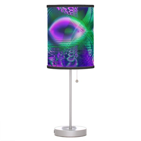 Evening Crystal Primrose, Abstract Night Flowers Table Lamp