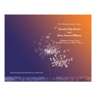 "Evening Dandelion Wedding Bi Fold Ceremony Program 8.5"" X 11"" Flyer"