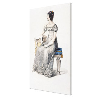 Evening dress, fashion plate from Ackermann's Repo Canvas Print