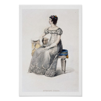 Evening dress, fashion plate from Ackermann's Repo Poster