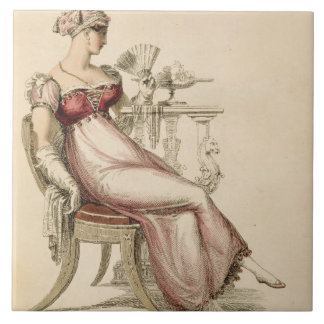 Evening dress or ball gown, fashion plate from Ack Ceramic Tile