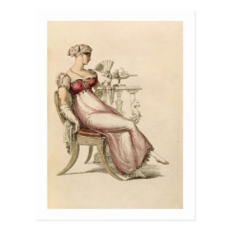 Evening dress or ball gown, fashion plate from Ack Postcard