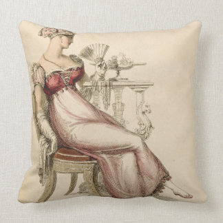 Evening dress or ball gown, fashion plate from Ack Throw Pillow