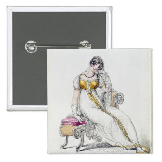 Evening dress or wedding dress, fashion plate from button