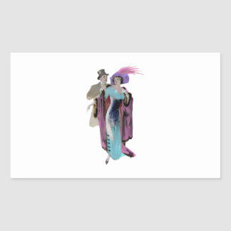 Evening Dress ~ Vintage Illustration Rectangular Sticker