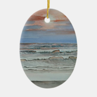 evening fall beach sunset ceramic ornament