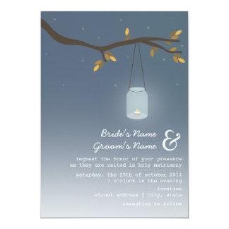 Evening Fall Wedding - Mason Jar With Candle 5x7 Paper Invitation Card