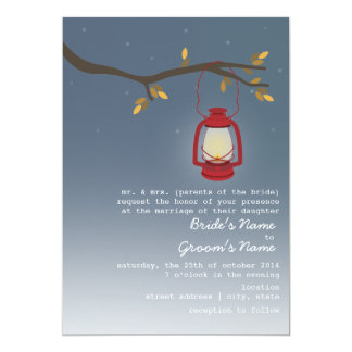 Evening Fall Wedding - Red Oil Lantern 5x7 Paper Invitation Card