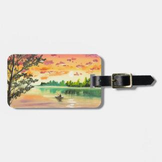 Evening fishing sunset lake luggage tag