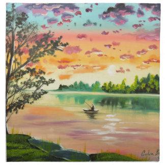 Evening fishing sunset lake napkin