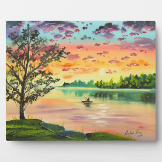 Evening fishing sunset lake plaque