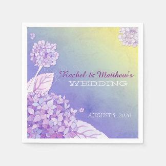 Evening Garden Hydrangeas Wedding Paper Napkins