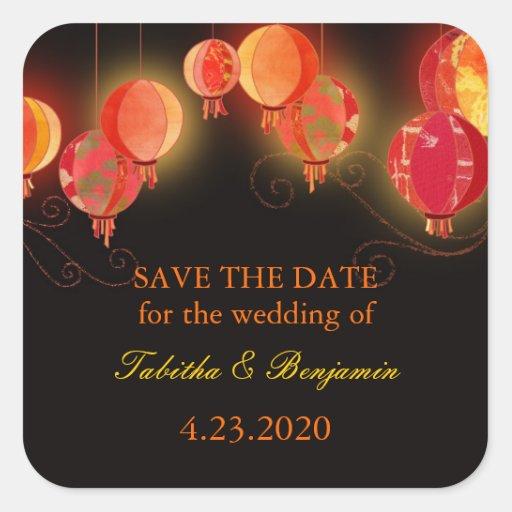 Evening Garden Lanterns Wedding Invitation Sticker