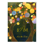 Evening Garden Love Trees Monogram Save the Date 5x7 Paper Invitation Card