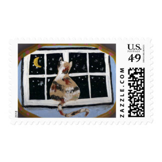 Evening glance by a cat postage stamp