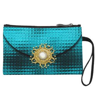 Evening glitter gem aqua gold wristlet wallet
