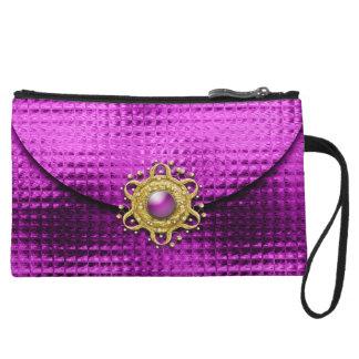 Evening glitter pink jewel wristlet clutch