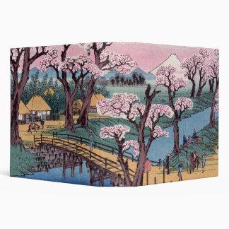 Evening Glow at Koganei Bridge, Ando Hiroshige 3 Ring Binder