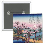 Evening Glow at Koganei Bridge, Ando Hiroshige Pinback Button