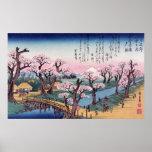 Evening Glow at Koganei Bridge, Ando Hiroshige Poster