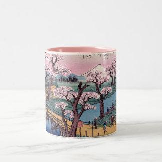 Evening Glow at Koganei Bridge, Ando Hiroshige Two-Tone Coffee Mug