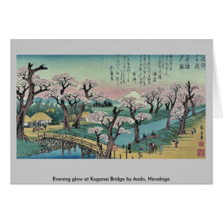 Evening glow at Koganei Bridge by Ando, Hiroshige Greeting Cards