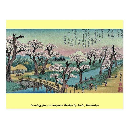 Evening glow at Koganei Bridge by Ando, Hiroshige Postcard