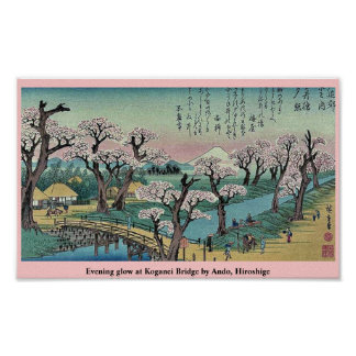 Evening glow at Koganei Bridge by Ando, Hiroshige Poster