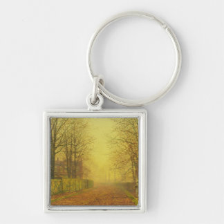 Evening Glow, c.1884 (oil on canvas) Silver-Colored Square Keychain